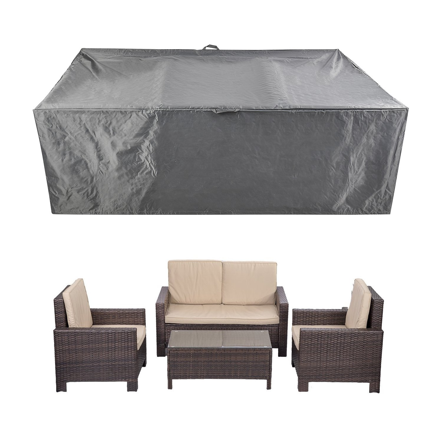 Patio Furniture Set Covers Waterproof Outdoor Table Covers Sectional Conversation Loveseat Sofa Set Covers Waterproof Durable Heavy Duty  88'' L x 58'' W x 28'' H