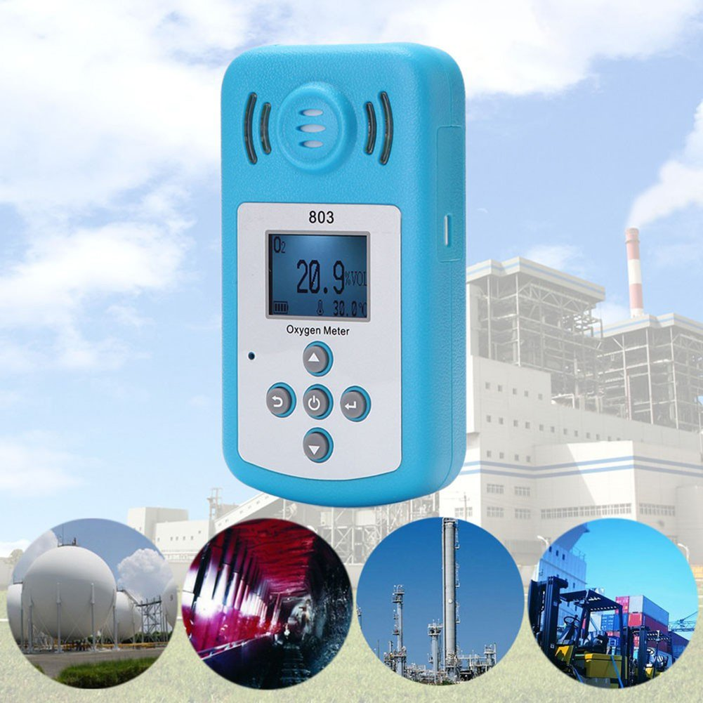 Eachbid Oxygen Meter Portable Oxygen(O2) Concentration Detector with LCD Display and Sound-light Alarm