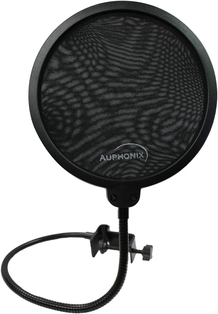 AUPHONIX Pop Filter for Blue Yeti Microphone – Custom Fit, Easy On Clasp Shield Delivers Perfectly Optimized Voice Clarity