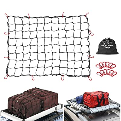 MICTUNING 3 Feet x4 Feet to 6 Feet x8 Feet Heavy Duty Bungee Cargo Net, Latex Truck Bed Mesh - 12pcs Free Carabiners Storage Bag for Loads Tighter Cargo Hitch: Automotive