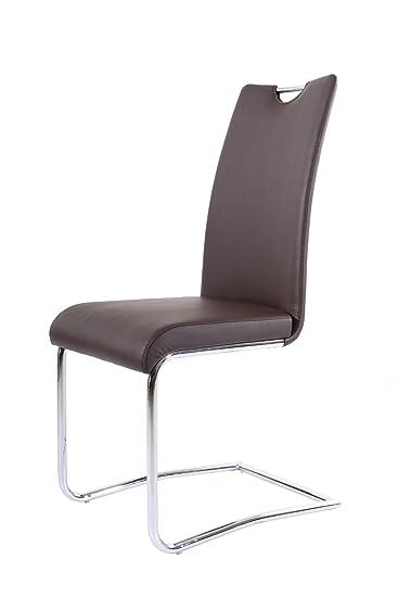 SAM® Freischwinger Stuhl RH2233 In Braun , Echtleder, Praktischer Griff, Modernes  Design,