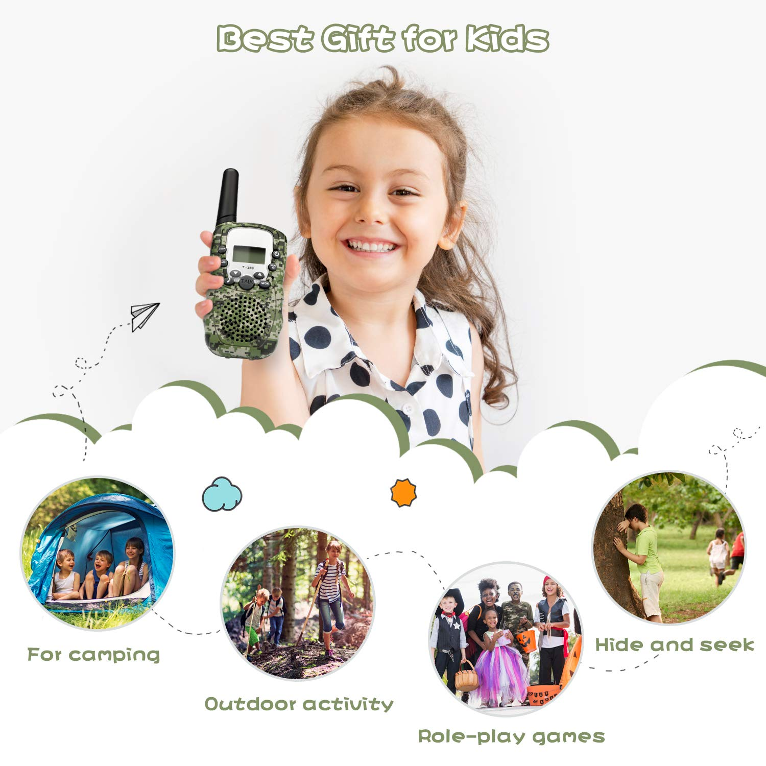 Zhenhao Walkie Talkies for Kids 3 Packs - 22 Channels Two Way Radio 3 Miles Long Range Outdoor Toys with 3 Earpieces and 3 Lanyards for Boys Girls by Zhenhao (Image #8)