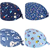 JEWPARK 4 Pcs Cute Printed Working Cap Cotton Working Cap with Button and Sweatband Adjustable Tie Back Hat for Women…