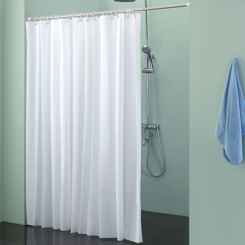 Badalink Shower Curtain Mildew-Free Waterproof PEVA Shower Liner 70x71 Inch Frost White