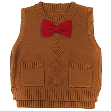 5c9627dec Amazon.com  Toddler Baby Boy s Girls Cable Knit Vest Cotton Bow Pullover  Sweater  Clothing