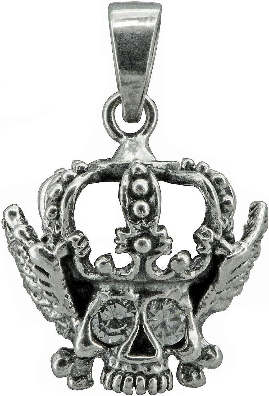 T/ête de mort squelette Couronne Aile Oxyde de Zirconium celtique Pendentif Amulette 7/g Argent sterling 925/Beldiamo