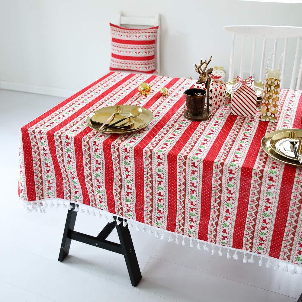 YUNSW Cadeau De No/ël Coton Et Lin Nappe Tassel Multifonctionnel Nappe Maison Cuisine Restaurant D/écoration A 90x90 cm