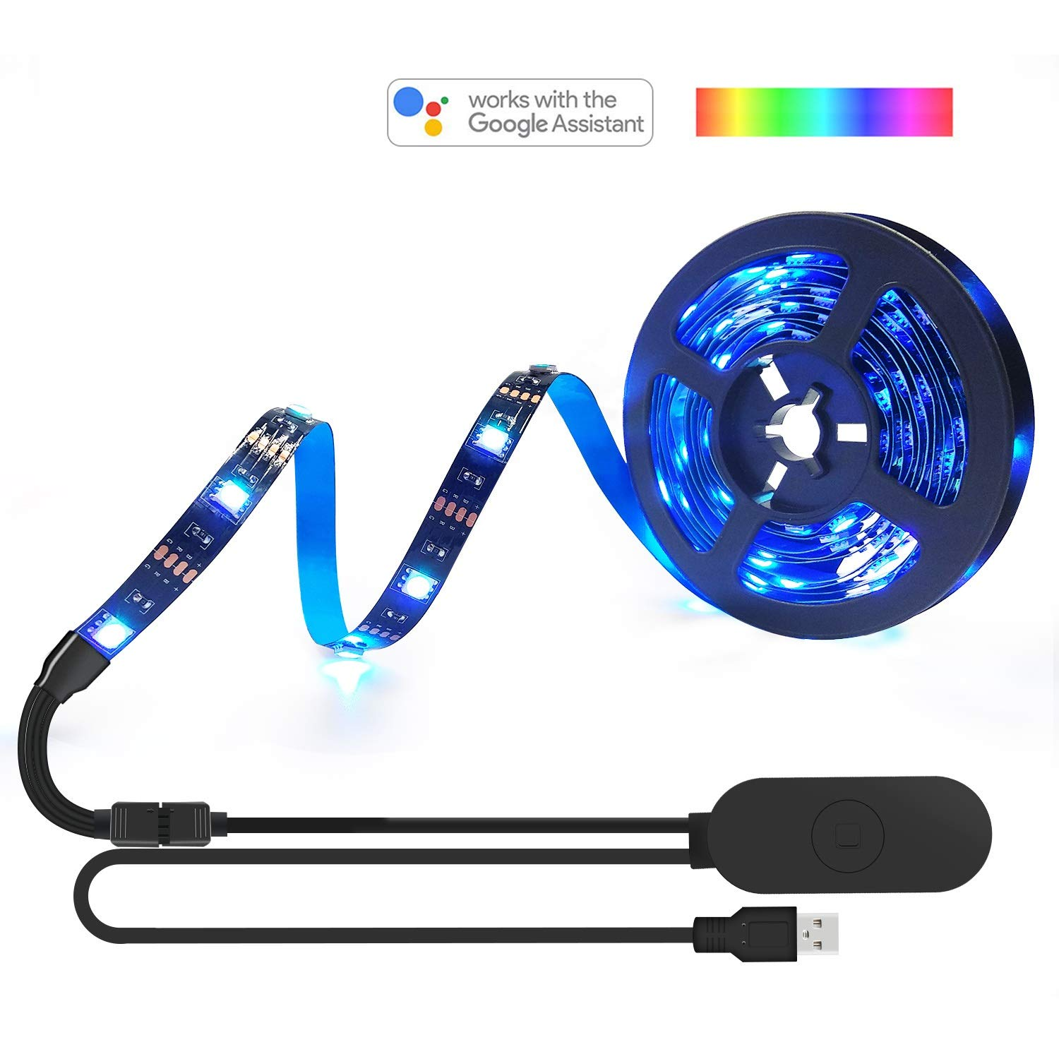 AEGOOL USB WIFI PC/TV Backlights Kit, Sync to Music Wireless RGB Multicolor LED Screen Accent Strip Lighting 9.8ft/3m 90LEDs 5050 Dimmable Color Bias String Lights via Alexa Smart Phone APP Android IO by AEGOOL (Image #1)