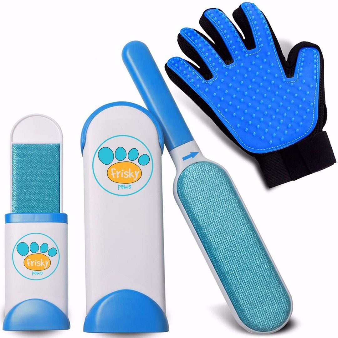 Frisky Paws Pet Hair Remover Brush Self-Cleaning Base | Reusable Double-Sided Cat & Dog Hair, Fur, Fuzz Lint Removal Furniture, Clothes, Carpet & Car Seat | Pet Grooming Glove Included