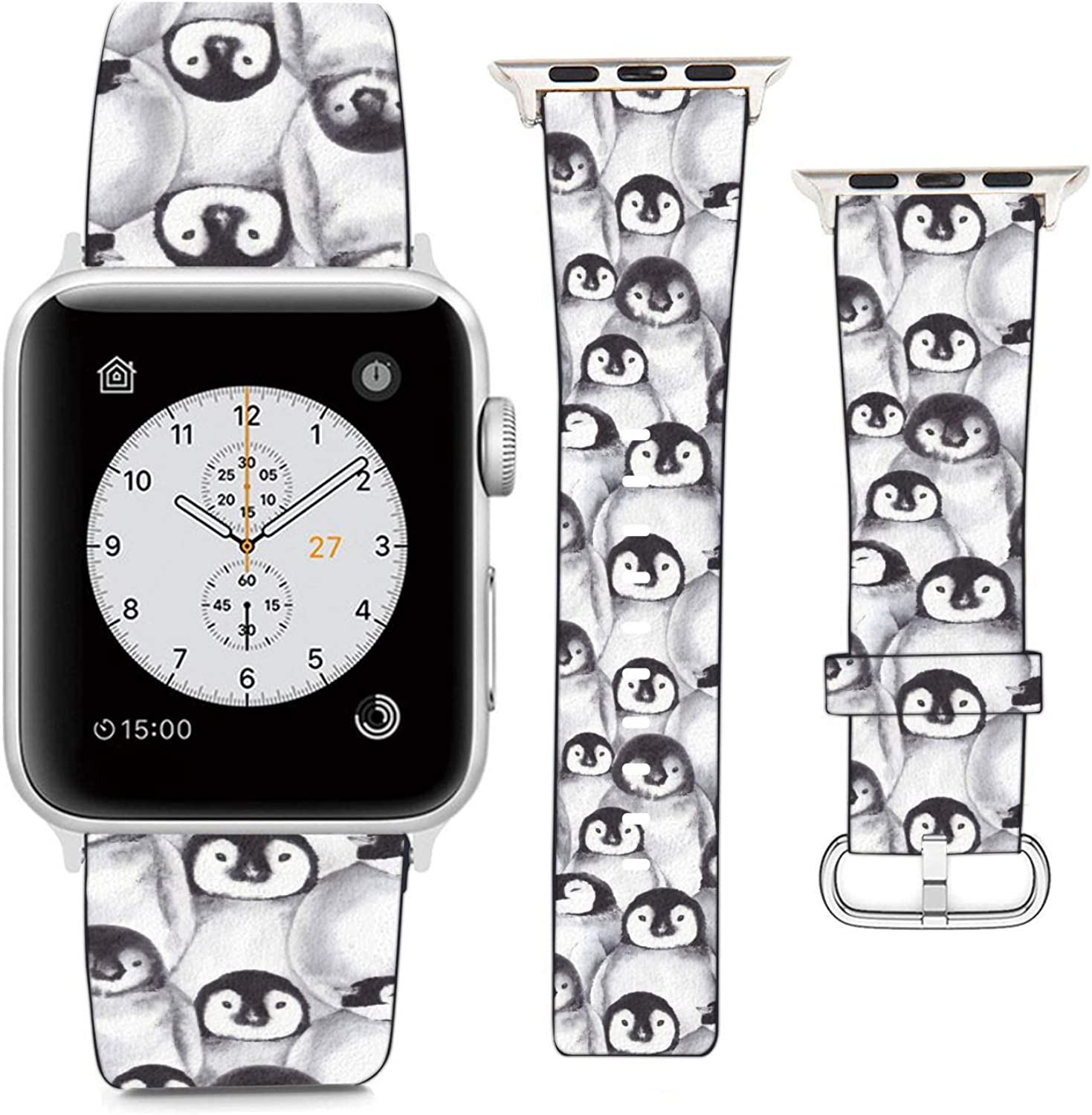 Compatible with Apple Watch Wristband 42mm 44mm, (Baby Penguins Pattern) PU Leather Band Replacement Strap for iWatch Series 5 4 3 2 1