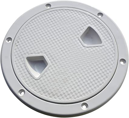 Marine 6 Inch Round Non Slip Inspection Hatch with Detachable Cover Black