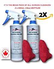 2 x 500ML (16.9 oz) Screen Cleaner Liquid Combo (for LED, LCD, Plasma, LAPTOPS, NOTEBOOKS, Camera Lens, All Types of Screens) Canadian Made from Start to Finish