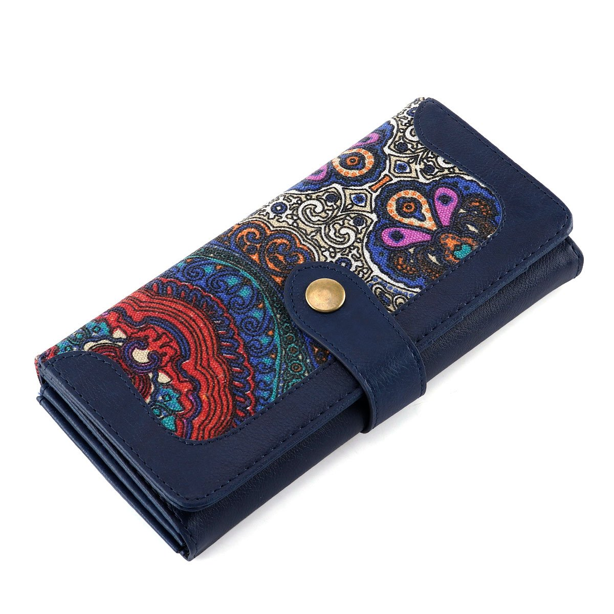 Women Wallet Large Capacity Clutch Wallet Holder Purse with ID Window and Inner Zipper Pocket (Blue)
