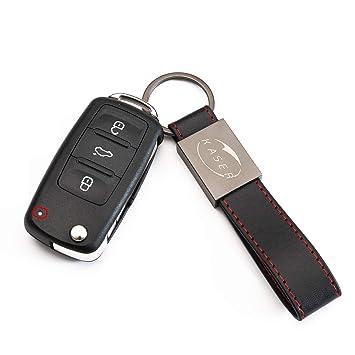 Carcasa Funda Llave Remoto Mando MK6 para VW Volkswagen Golf Polo Tiguan Passat Touareg Seat Skoda con Llavero de Cuero KASER (5K0837202AD)