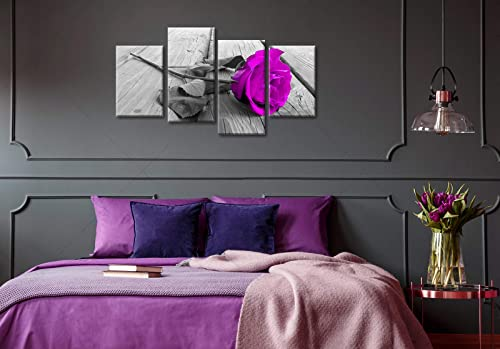 Flower Wall Art Bedroom Decor Purple Rose Floral on Grey Wooden Boards Large Modern Bedside Painting Pictures Art Posters Canvas Prints Framed Artwork Home Living Room Decoration