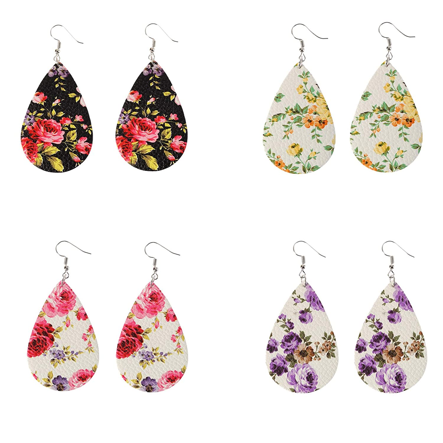 OMTBEL STOOLY 4 Pairs Faux Leather Leaf Earring for Women Girls Gifts,Bohemia Style Earring Sets Jewelry