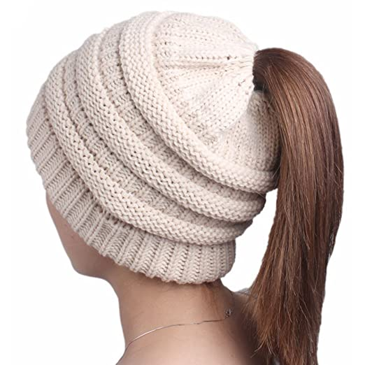 2cf001f3241d5 FENFEN Beanie Tail Womens Ponytail Messy Bun Beanie Solid Ribbed Hat Cap  (Beige)