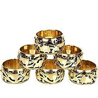 GAURI KOHLI Fine Grade Brass Napkin Rings with Beautiful Latticework Design (Set of 6)
