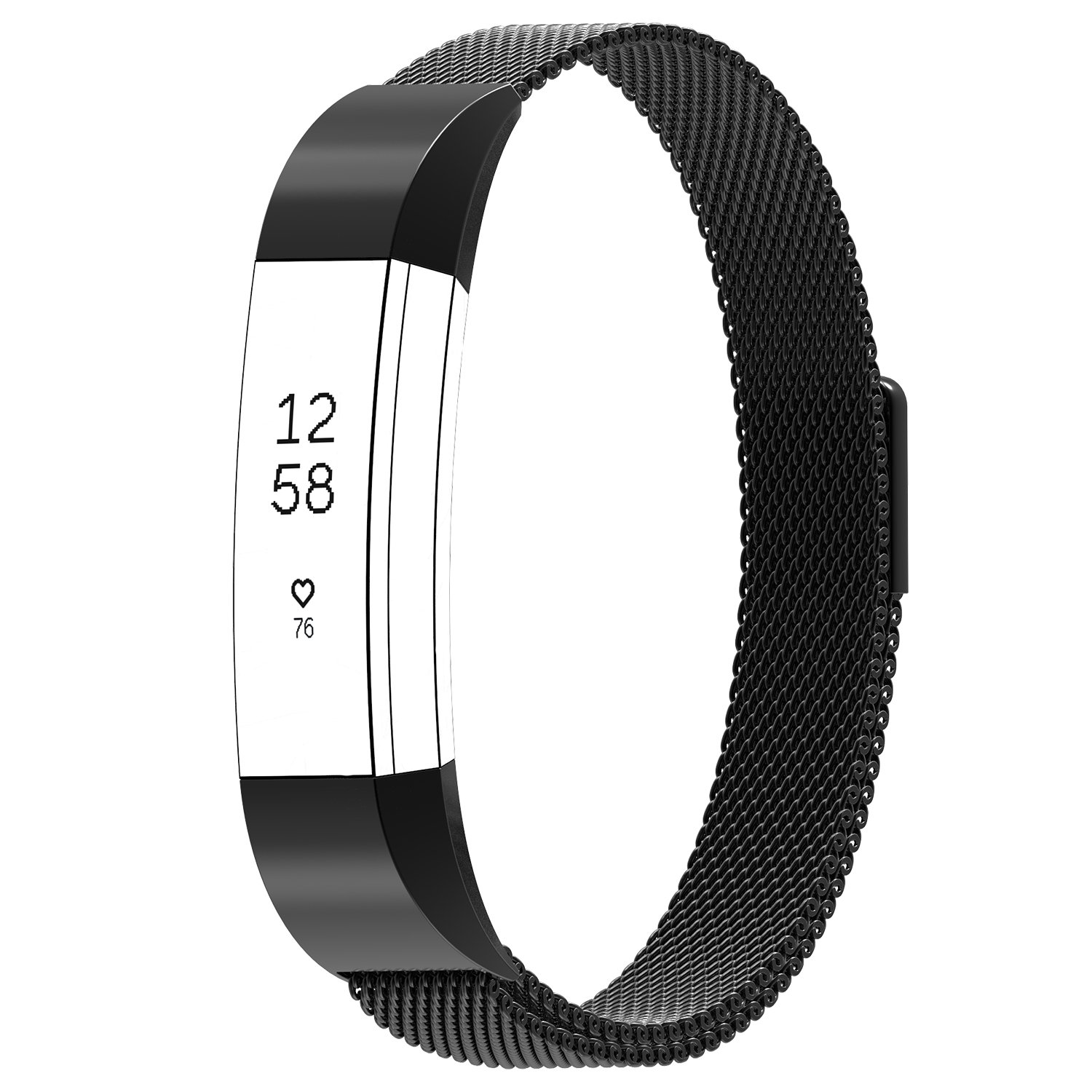Austrake For Fitbit Alta HR Bands Metal and Fitbit Alta, Stainless Steel Replacement Milanese Band for Fitbit Alta Small Large for Men,Black