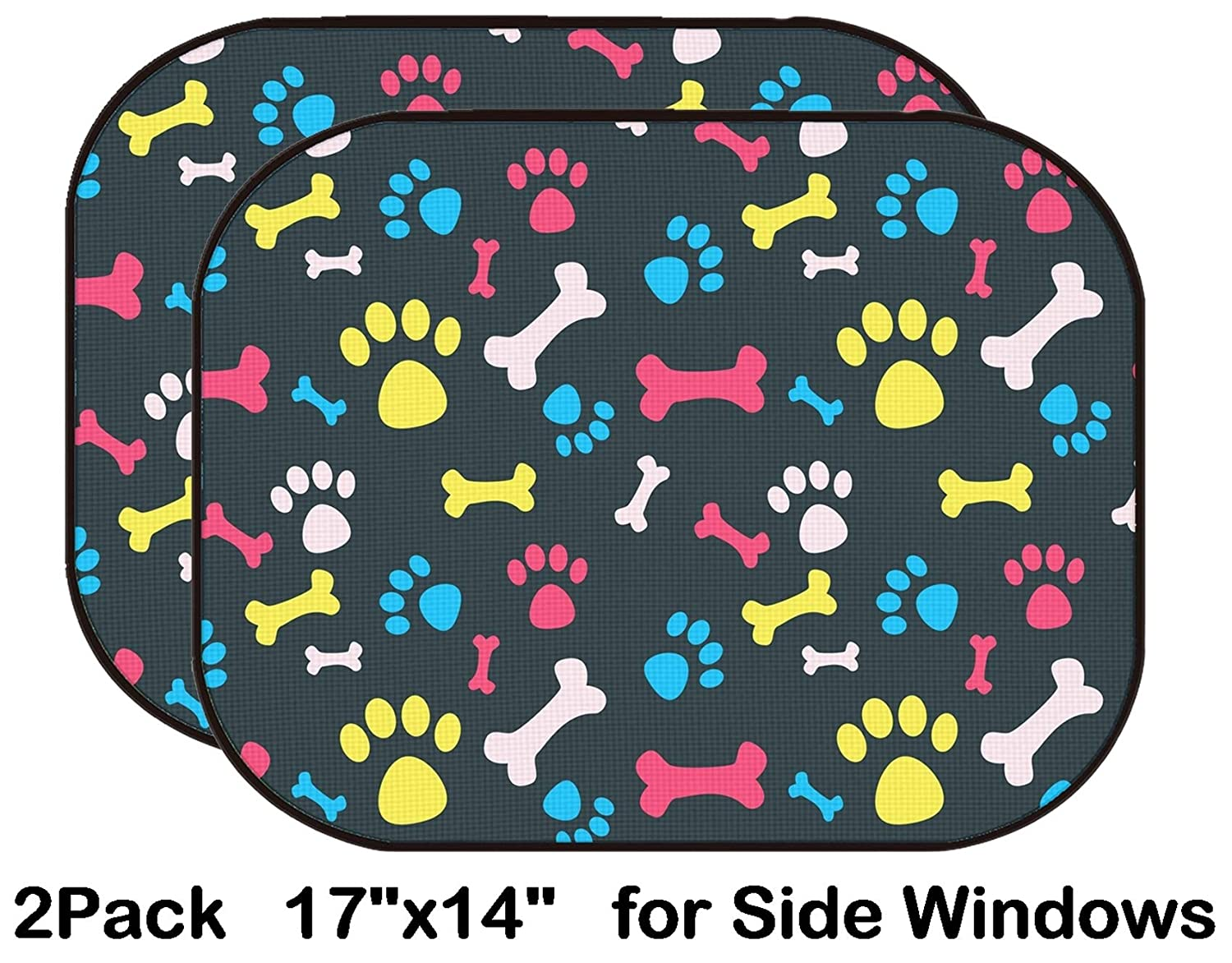 Liili Car Sun Shade for Side Rear Window Blocks UV Ray Sunlight Heat - Protect Baby and Pet - 2 Pack Image ID: 23228949 Cool pet Background with Dog paw Prints and Bones Vector seamle Liili Products