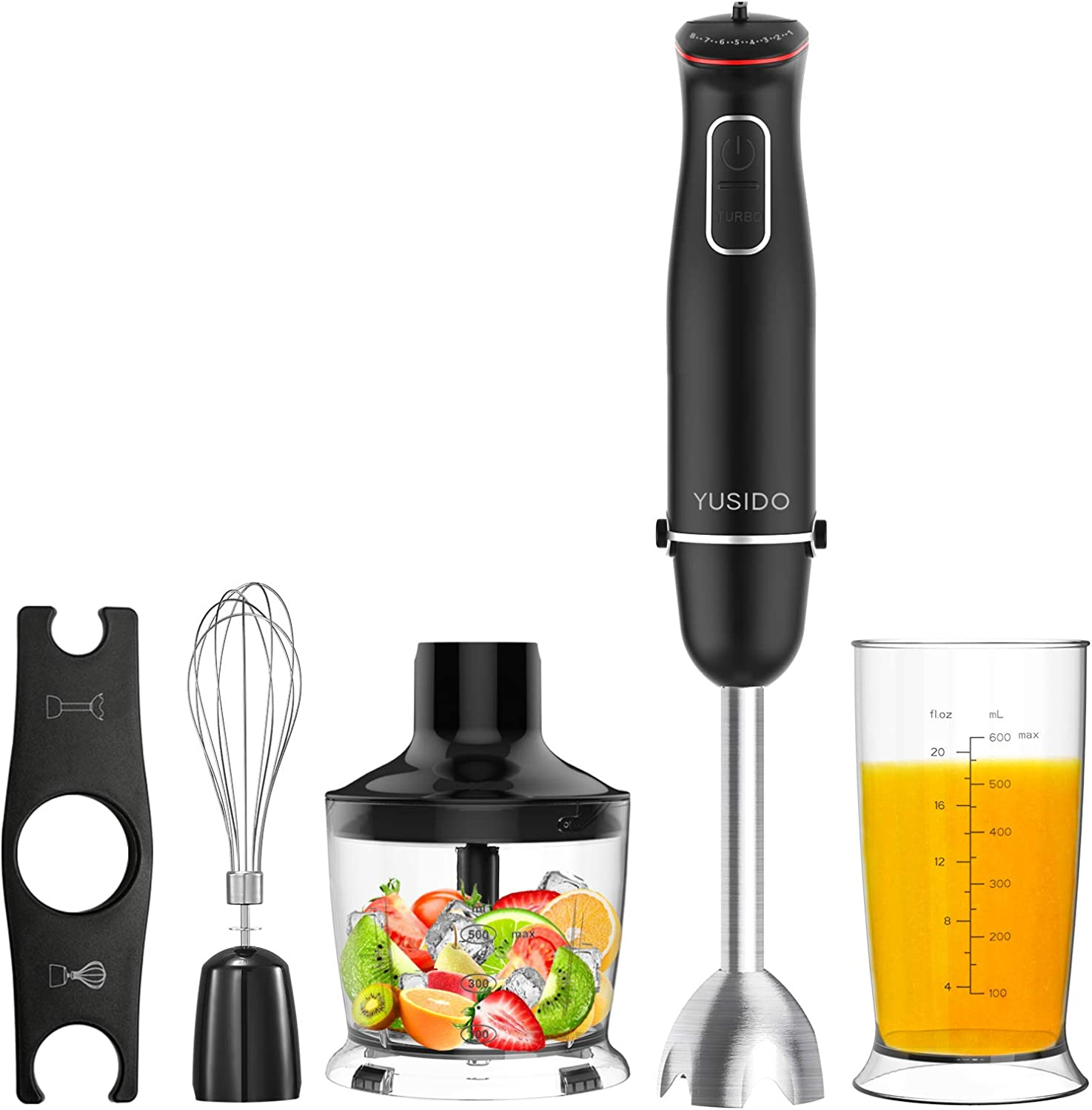 Yusido Immersion Multi-Purpose Hand Blender 800 Watt 8-Speed with Titanium-Plated Blades and Food Grinder Bowl (Black)