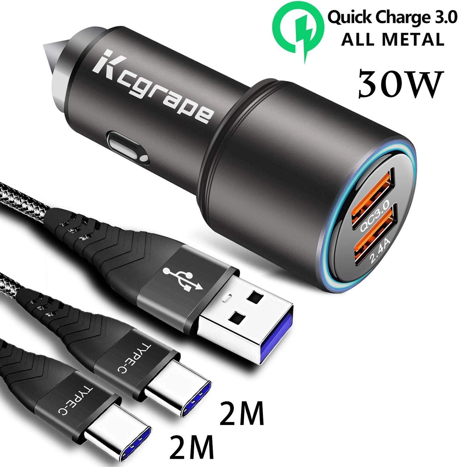 Cargador Móvil Coche Quick Charge 3.0 Con 2M+2M Cable USB Tipo C para Samsung A41 A31 A30S A40 A50 A70 M51 M11,Xiaomi Redmi 8A Note 9 Pro 8T,MI 10T Lite,Poco F2 Pro/X3,LG,Oppo A9 2020,30W Carga Rapida