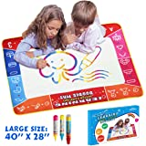 "Monilon Aqua Doodle Drawing Mat, 40"" X 28"" Large Magic Water Painting Mat Set Water Drawing Board- Best Art Writing Learning Educational Toys for 3 4 5 Years Old Boys Girls with 3 Magic Pens"