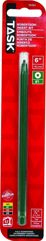 Number-1 Green Task Tools T67811 6-Inch Robertson Screwdriver Power Insert Bit