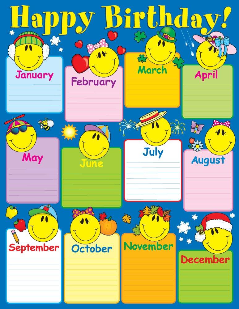 Amazon com carson dellosa smiley face birthday chart 6290 carson