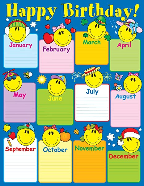Amazon Carson Dellosa Smiley Face Birthday Chart 6290 Themed Classroom Displays And Decoration Office Products