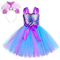 G.C Sequin Mermaid Dress for Girls Tutu Costume Outfit Fancy Birthday Cosplay Party Dress up