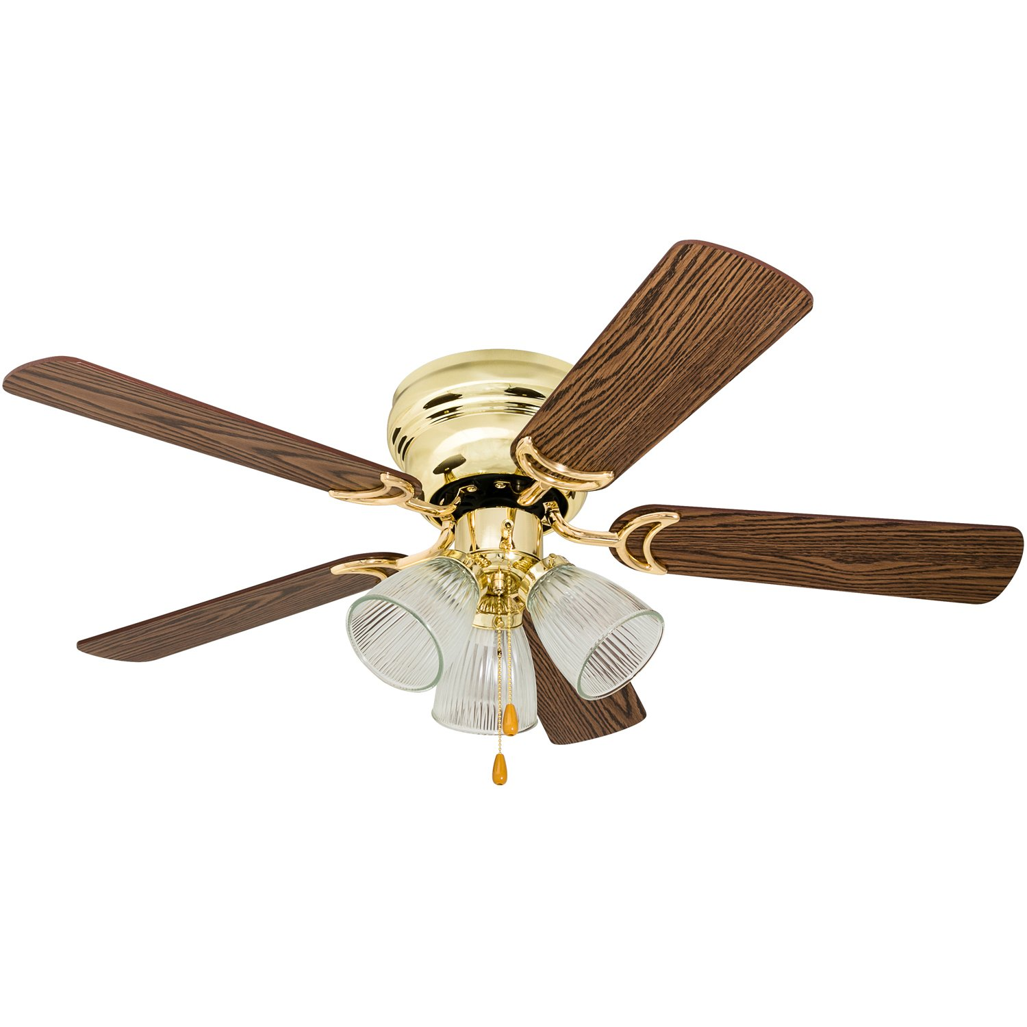 Prominence Home 50862 Whitley Hugger Ceiling Fan, 42'', Bright Brass