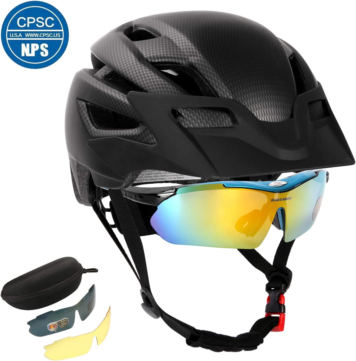 Odoland Bike Helmet with Detachable Goggle, Bike Headlight and Bike Taillight for Road or Mountain Cycling Lightweight Adjustable and Breathable Bicycle Helmet for Adults and Youth, CPSC Certification