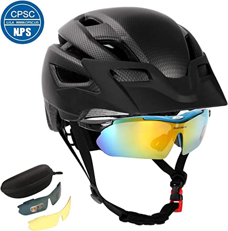 Buggy Bag Sports Cycling Sunglasses Odoland Adult Professional Cycle Helmet Set with Detachable Visor Marve String Lens Wiping Cloth Carrying Case 2 Bike Replaceable Lens Myopia Frame