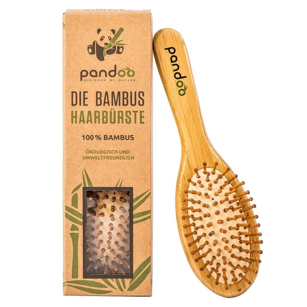 pandoo Spazzola per capelli in bambù con setole naturali–vegan, ecologica–spazzola naturale con setole in bambù per capelli di una bellezza naturale per uomini, donne, e bambini - Detangler pandoo®