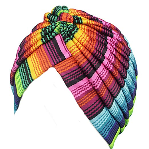 9a4a5fdd515 BAOBAO Women colorful Stripe Ruffle Stretch Turban Hat Headwrap ...
