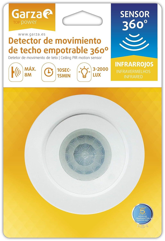 Garza Power - Detector de Movimiento Infrarrojos Empotrable de Techo, Ángulo de Detección 360º, color Blanco: Amazon.es: Bricolaje y herramientas
