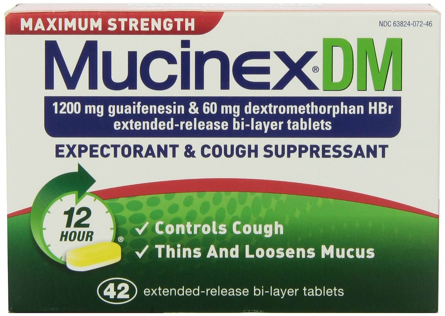 Mucinex DM Maximum Strength 12-Hour Expectorant and Cough Supressant Tablets, 84 Count Pack