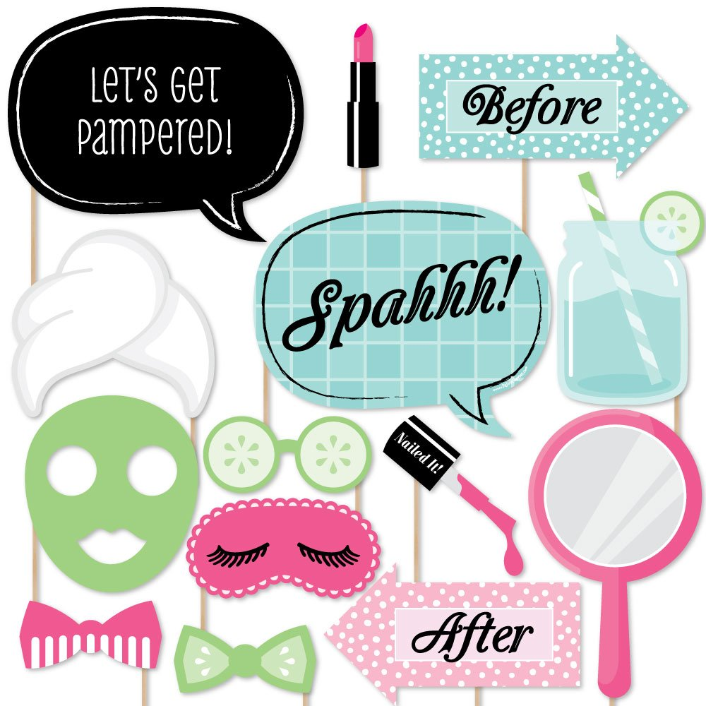 Spa Day - Photo Booth Props Kit - 20 Count