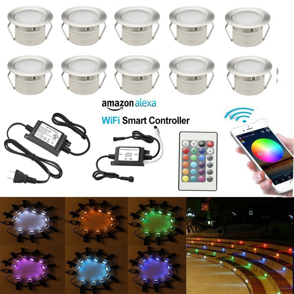 FVTLED 10pcs Wifi Controller Low Voltage LED Deck Lights Kit Work with Alexa Google Home Wifi Wireless Smart Phone LED Step Inground Lights
