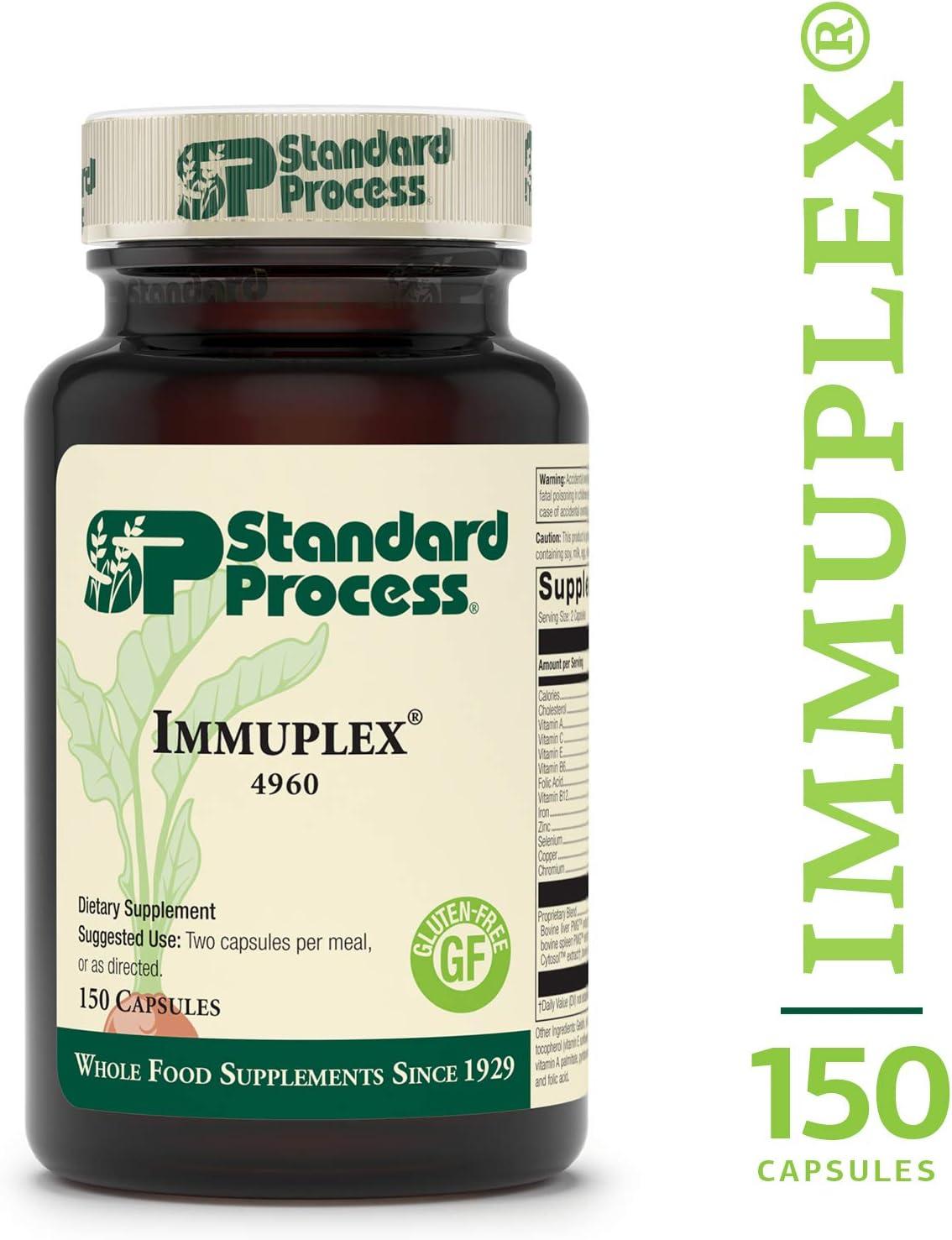 Standard Process – Immuplex – Immune System Function Support Supplement, Provides Vitamin A, C, E, B6, B12, Folic Acid, Iron, Zinc, Selenium, Copper, Chromium, Gluten Free – 150 Capsules