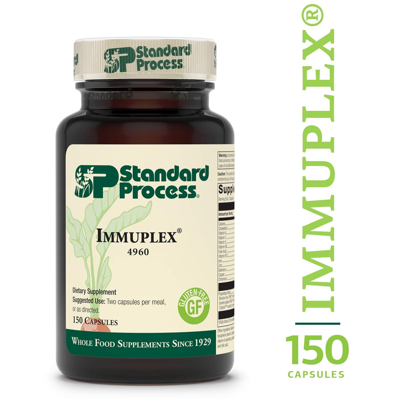 Standard Process - Immuplex - Immune System Function Support Supplement, Provides Vitamin A, C, E, B6, B12, Folic Acid, Iron, Zinc, Selenium, Copper, Chromium, Gluten Free - 150 Capsules by Standard Process