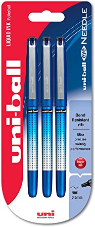 Pack of 6 Black Ink Uni-Ball Vision Needle Point Pens UB-185S 0.4mm Line