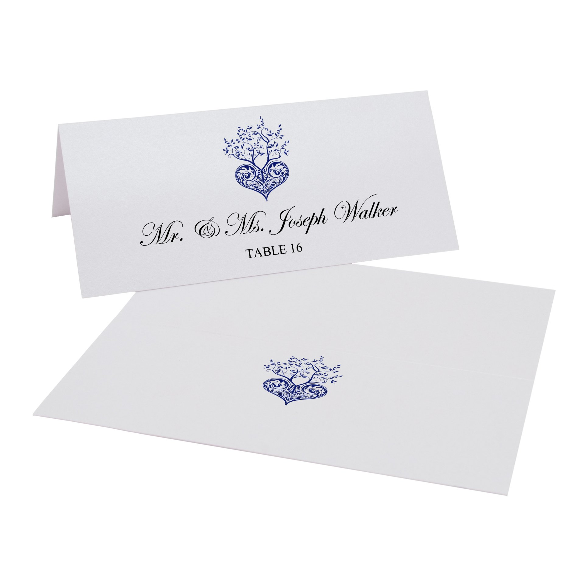 Documents and Designs Tree of Life Heart Easy Print Place Cards (Select Color), Navy, Set of 150 (25 Sheets)