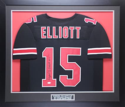 e50b9e1d27c Ezekiel Elliott Autographed Black Ohio State Jersey - Beautifully Matted and  Framed - Hand Signed By