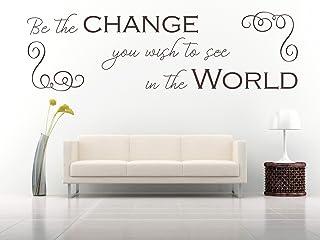 'Be the change you wish to see in the World' Gandhi citazione, vinile, muro, arte, adesivo. Murale, decalcomania. Casa, Decorazione della parete. Inspiraional, preventivo motivazionale, soggiorno, camera da letto, scuola