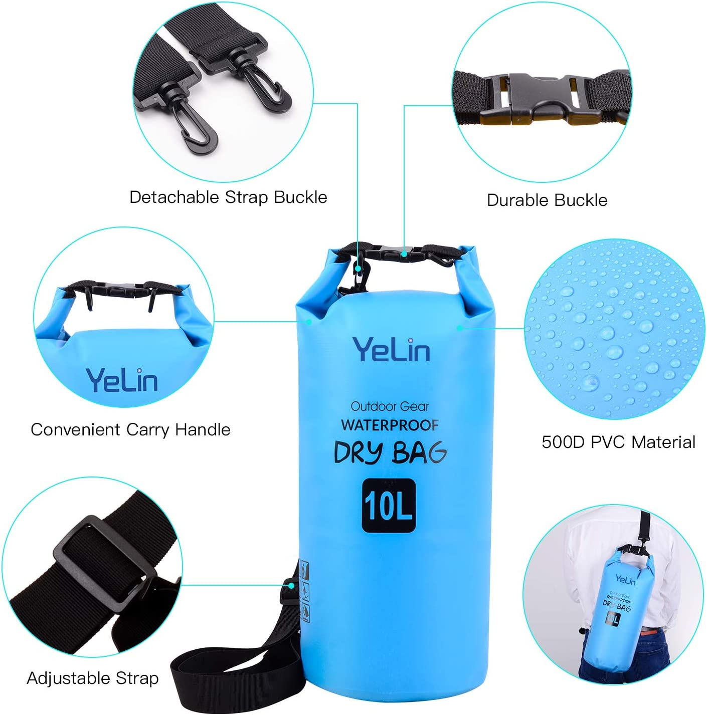 Swimming Kayaking Camping Travel Gifts YELIN Waterproof Dry Bag Floating Marine Dry Pack 10 Liter IPx8 Waterproof Case with Magnetic Strip Seal for Beach Boating