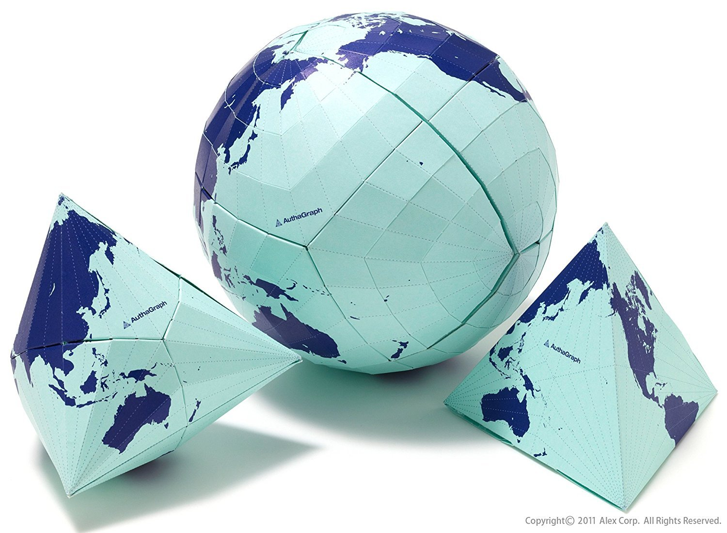 AuthaGraph Globe - The World's Most Accurate Globe. This AuthaGraph Globe is a paper craft globe kit showing the process making a 2D AuthaGraph world map.