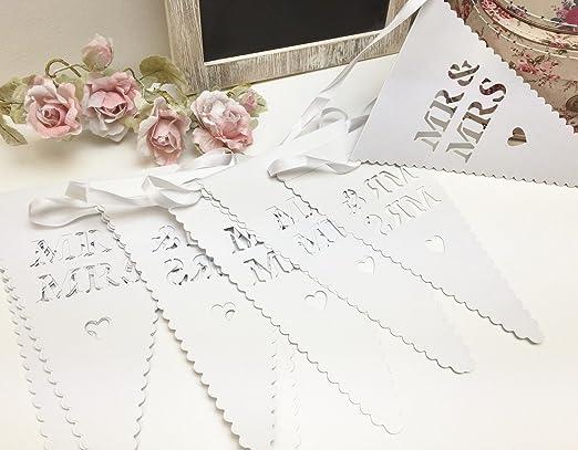 Dkbees diseño de novios blanco corazón banderines de cartel ...