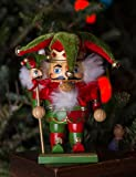 """Clever Creations Chubby Jester Nutcracker   Red and Green Joker Outfit with Hat, Bells, Scepter   Festive Traditional Christmas Decor   7.25"""" Tall Perfect for Any Collection   100% Wood"""